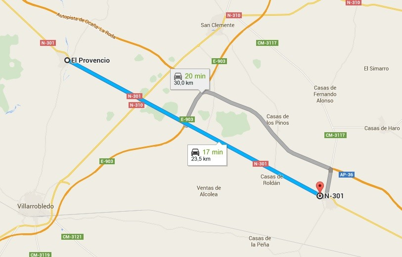 Tramo carretera entre El Provencio y Minaya